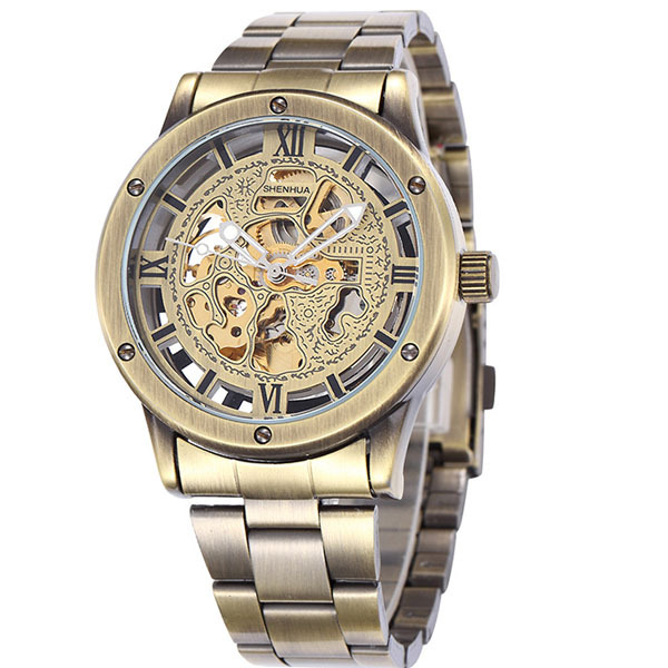 мужская бронза скелет набора стальной ленты автоматический самоконтроль ветер наручные часы,Мужские часы